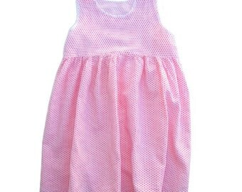 VINTAGE // FRENCH  60's red  dot  girl DRESS // size 3/4 // bohemian