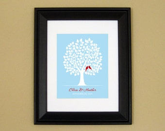 Personalized Wedding Gift - Unique Engagement Gift - 1st Anniversary Present - Lovebirds in Tree - 8x10 or 11x14