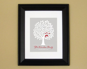 Entryway or Hallway Decor - Foyer Art - Family Tree Art Print - Personalized Family Name Sign - Bird Family in Tree - 8x10 or 11x14