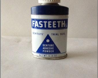 Vintage 1960s Fasteeth Dentists Trial Size Tin