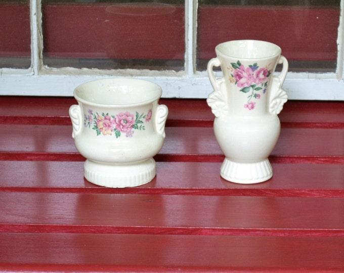 Vintage Royal Copley Vase Set of 2 Cabbage Rose Shabby Cottage Romantic Decor Panchosporch