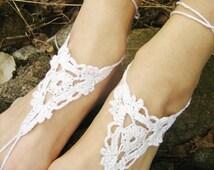 wedding barefoot wedding shoes bridal shoes white wedding shoes white bridal sandals Barefoot Sandals White Crocheted Handmade Nude Shoes