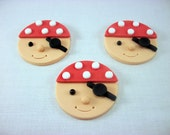 Pirate Birthday Party Edible Cupcake Fondant Toppers, Pirate Face, Pirate Baby Boy Shower Decor, Boy Summer Sea Birthday Nautical - set 12