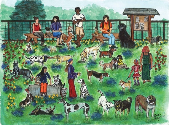 Day At The Dog Park- primitive folk art print from original painting