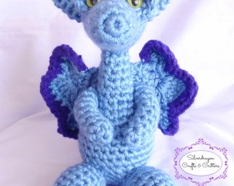 "Large 10"" Crocheted Dragon"
