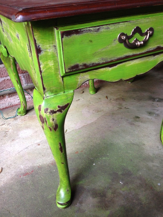 antique green shabby chic end tables chalk painted distressed. Black Bedroom Furniture Sets. Home Design Ideas