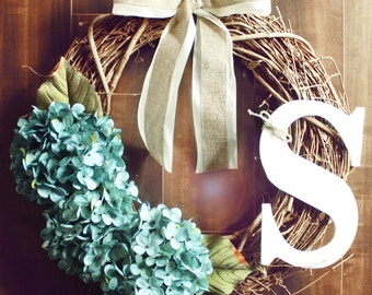 Personalized Blue Hydrangea Grapevine Wreath with a White Burlap Bow