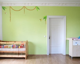 "Wall Decal ""lianas and Hummingbird"" nursery Kids Jungle Wall Stickers"