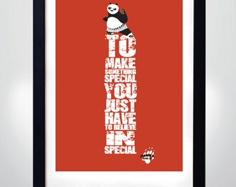 KUNG FU PANDA quote, Wall Art Print Motivational Poster (selectable size)