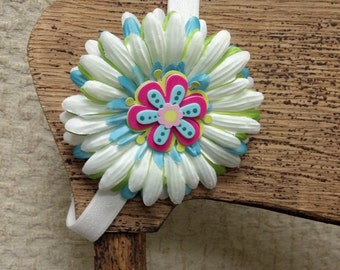 Spring Themed Flower Clip on Adjustable and Interchangeable Elastic Headband - 2 Piece Set