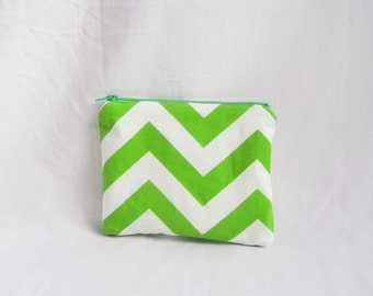 Green Embroidered Makeup bag - Personalized Chevron Pouch - Chartreuse Cosmetic Bag - Bridesmaid clutches - Small