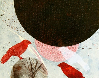 """Red and white birds, carrying """"The Weight of the World"""". ORIGINAL MONOPRINT.   14"""" x 11"""". Free U.S. shipping."""