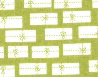 Christmas Fabric - Gift Packages - Cherry Christmas - Presents All Wrapped Up by Aneela Hoey for Moda 18534 17 Noel Light Green- 1/2 yard