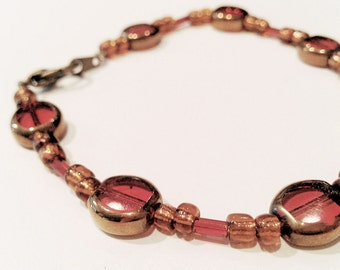 Red and Bronze Beaded Bracelet or Necklace