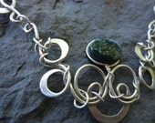 Handmade Silver(950) necklace with green jasper