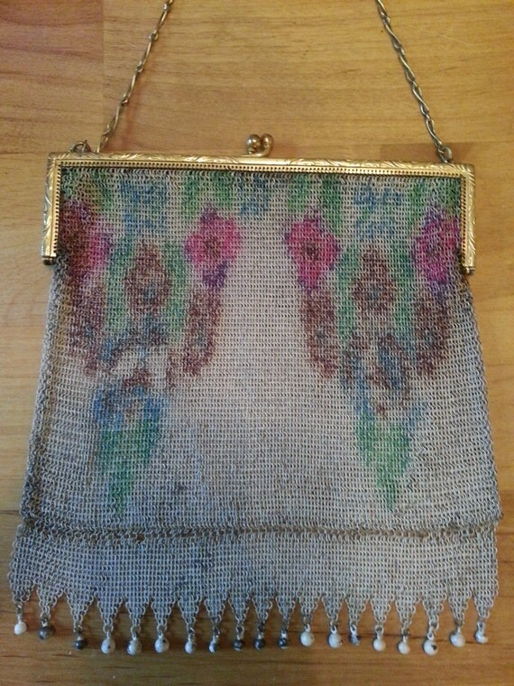 1920s German Silver W&D Flowered Mesh Bag