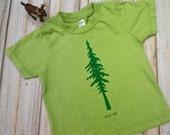 "Kids T-shirt Organic cotton made in USA Silkscreen Giant Redwood Tree ""Hug Me"" Green on Green tonal FREE SHIPPING"