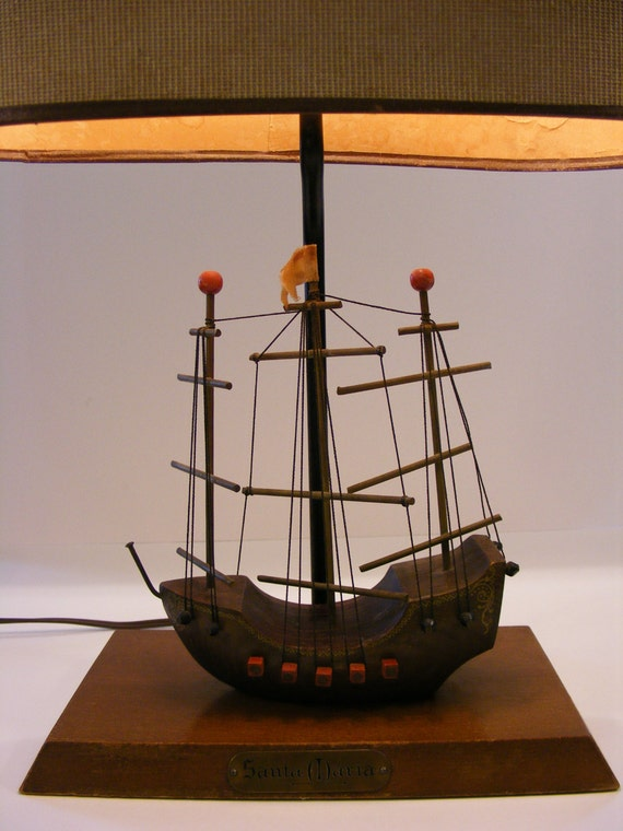 SALE - Vintage Santa Maria Ship Lamp w/ Shade