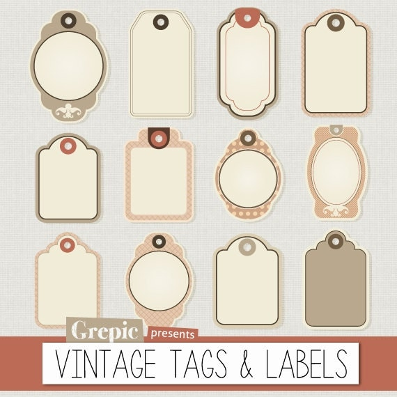 Tag and Label Vintage Clip Art