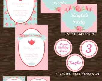 Shabby Chic Tea Party Printable Party Package