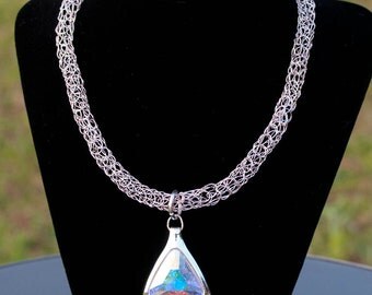 Crystal AB  Viking Knit Necklace