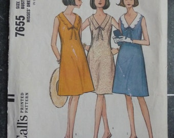 McCall's 7655 Vintage 1960's Sewing Pattern: Flared Dress with Choice of Collars, Size 14 (34-26-36)