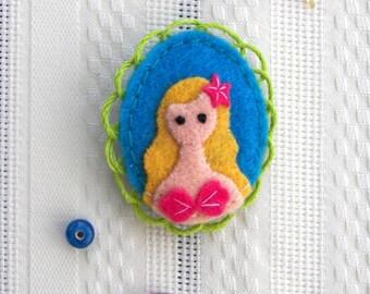 Little Mermaid Fairytale Felt Brooch