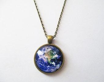 "Planet Earth Pendant- Space Pendant Planet Pendant- Bronze Glass Pendant with 24""Chain"