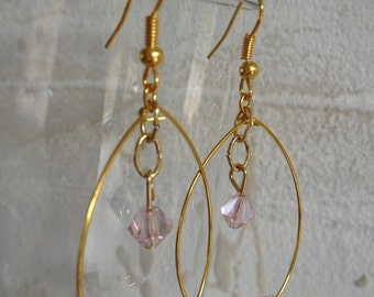 Handmade earrings with pink glass crystal