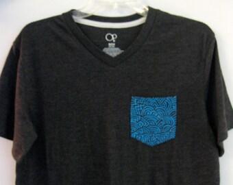 Hand Painted Men's Pocket Tee Shirt