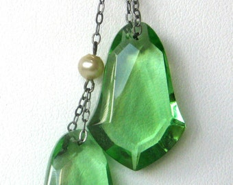 Silver & Green Crystal Necklace
