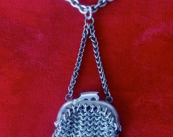 Victorian Sterling Silver Mini-Purse With 27-Inch Sterling Silver Chain