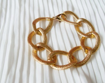Oversize Textured Gold Chain Bracelet. A Chunky Gold Chain Bracelet. Rock and Cool.