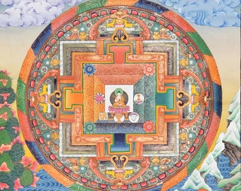 Mandala of the five Dhyani Buddhas - Calm and colorful Buddhist Thangka painting
