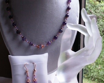 Parure Three Piece Set Amethyst Copper and Crystal Necklace Bracelet and Earrings