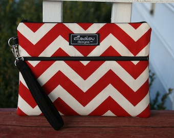 Kindle / iPad Mini / Nook / eReader / Padded Pouch / Bag / Wristlet- Red Chevron