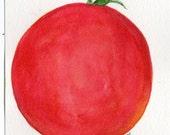 Tomato Watercolors Painting original, Kitchen decor,  food art, 4 x 6 inches watercolor