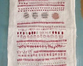 Red thread, Hand embroidery on antique French handspun linen, Sampler, folk art, one of a kind