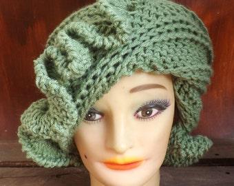 Winter Womens Beanie, Crochet Hat Womens Hat Trendy, Cynthia Ruffle Hat, Crochet Beanie Hat Women, Sage Green Hat, Womens Winter Hat Women