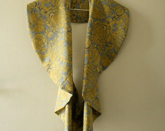 READY TO SHIP / mustard grey vest / cotton voile flower print / vest / made in australia / by pamelatang