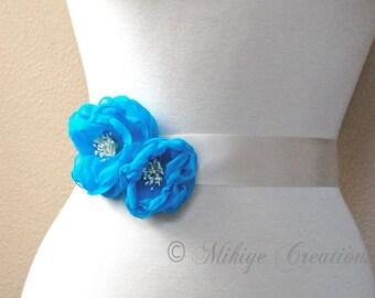 Sash Flowers, Wedding Hair Flowers, Bridesmaid Flowers, Chiffon Hair Flowers, Wedding Hair Clips, Bridal Accessories In Turquoise Chiffon