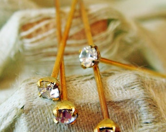 Vintage Rhinestone Crystal Clear Headpins Lot of (24)  jc rhHPcry  MORE AVAILABLE