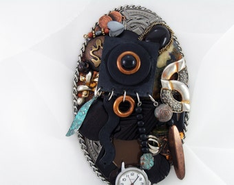 HALF OFF Sale - Hand Mirror - Afrocentric Bold - Repurposed Jewelry - M000680