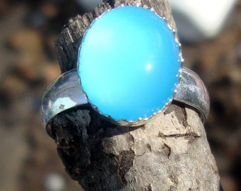 Ring - Glowing Blue Chalcedony 12x10 mm set in eco-friendly  sterling silver  - Custom Made in your Size - Bright and clear Ellensburg blue