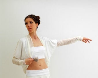 Shrug bolero cardigan, extra long sleeves, white jersey, ivory mesh, ruffled edges