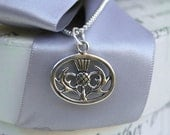 Scottish Thistle necklace - Sterling Silver 16 or 18 inch chain with or without crystal charm