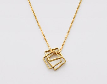 Square necklace - geometric necklace - gold filled necklace - delicate necklace - 3 square pendant - gold filled chain - Balance