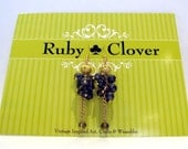 BIG SALE, Grey Black Czech Glass Earrings, GRIGIA, Gold Chain, French Hook, Grape Clusters, Italian Jewelry, One of a Kind,Gold Tone Accents