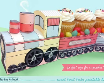 sweet treat train set -  party centerpiece and favor box, holds cupcakes, candy, Easter eggs etc - printable PDF kit - INSTANT download