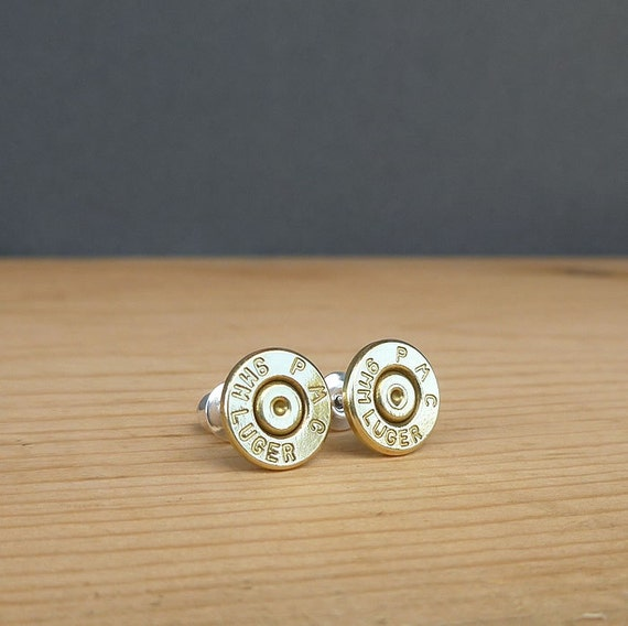 9mm luger PMC bullet earrings | sterling silver studs | bullet studs